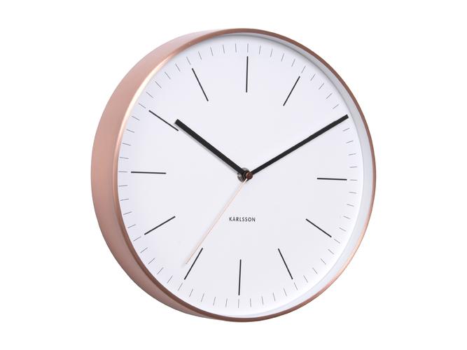 Nástěnné hodiny Minimal black w. copper case 27,5 cm bílé - Karlsson