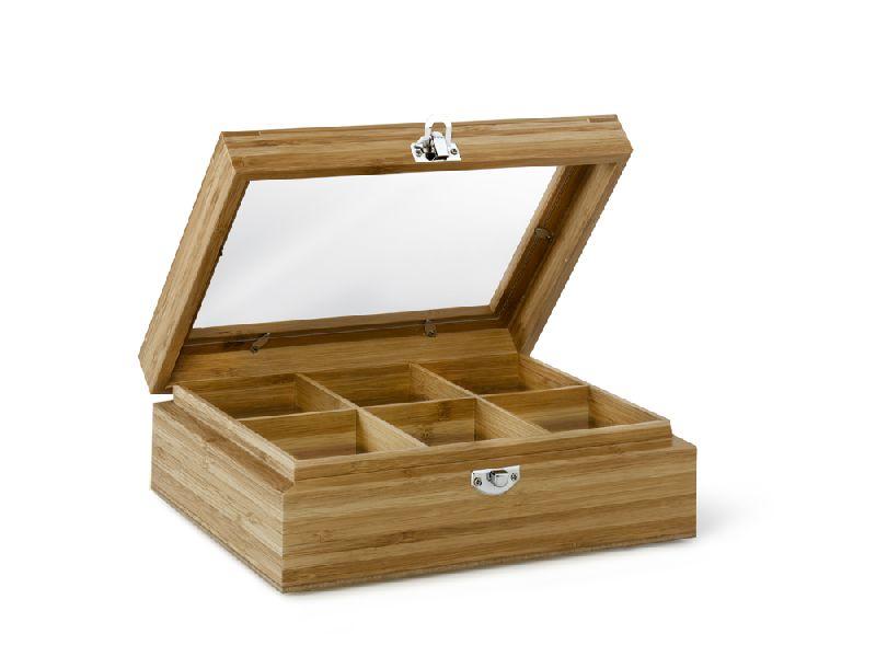 Krabička na porcovaný čaj 6 přihrádek Bamboo s okénkem - Bredemeijer