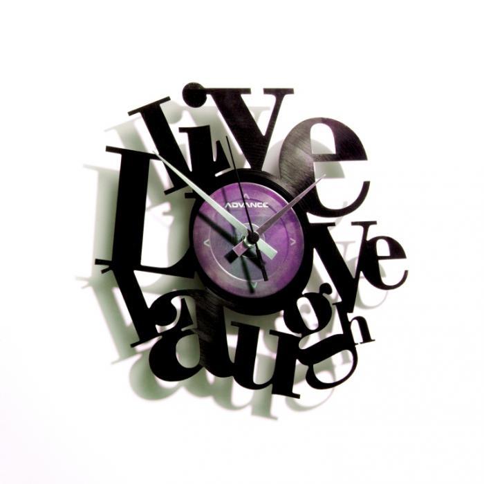 Nástěnné hodiny LIVE LOVE LAUGH - Discoclock