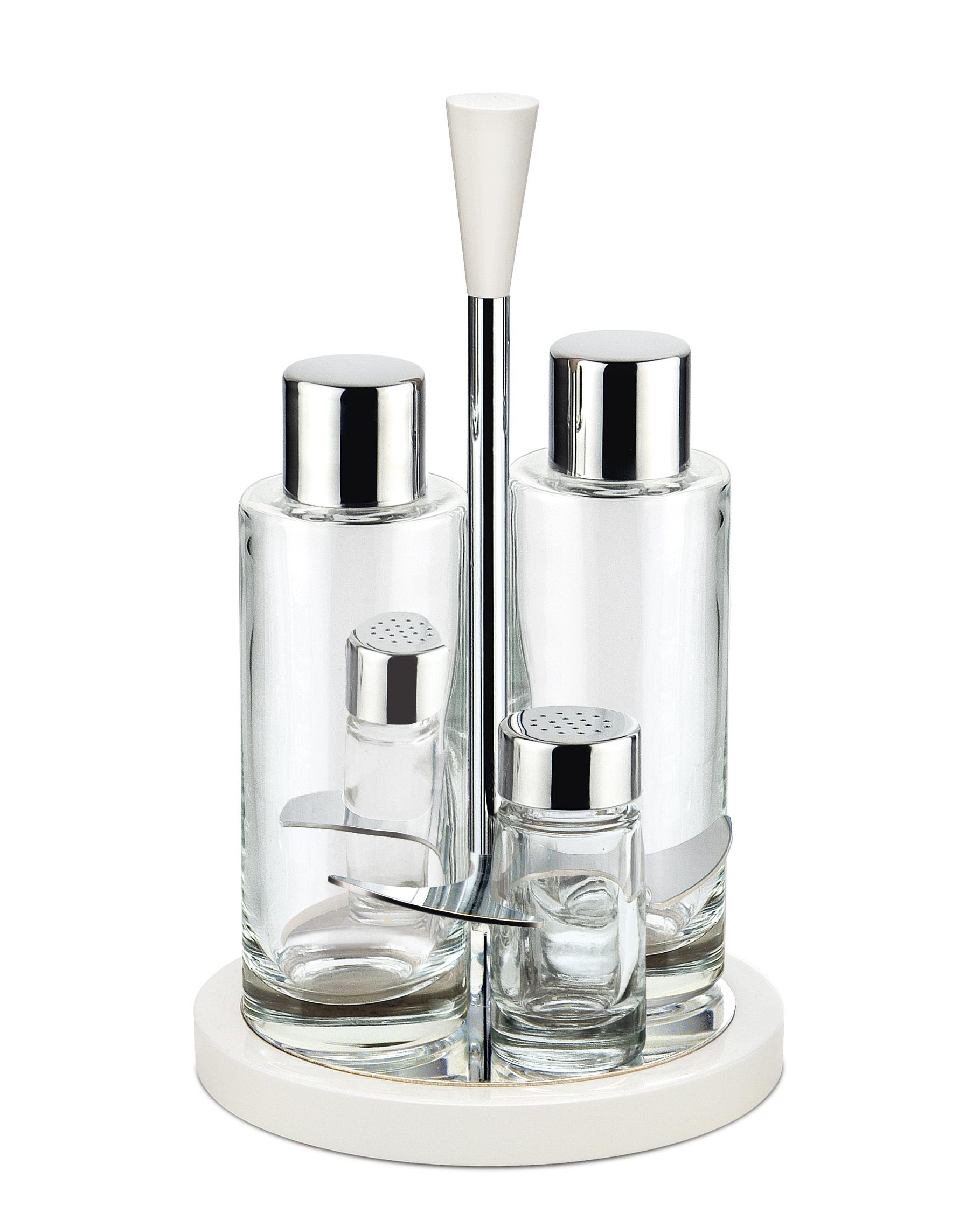 Glossy Menáž 4-dílná sada olej, ocet, pepř a sůl bílá - Carlo Giannini