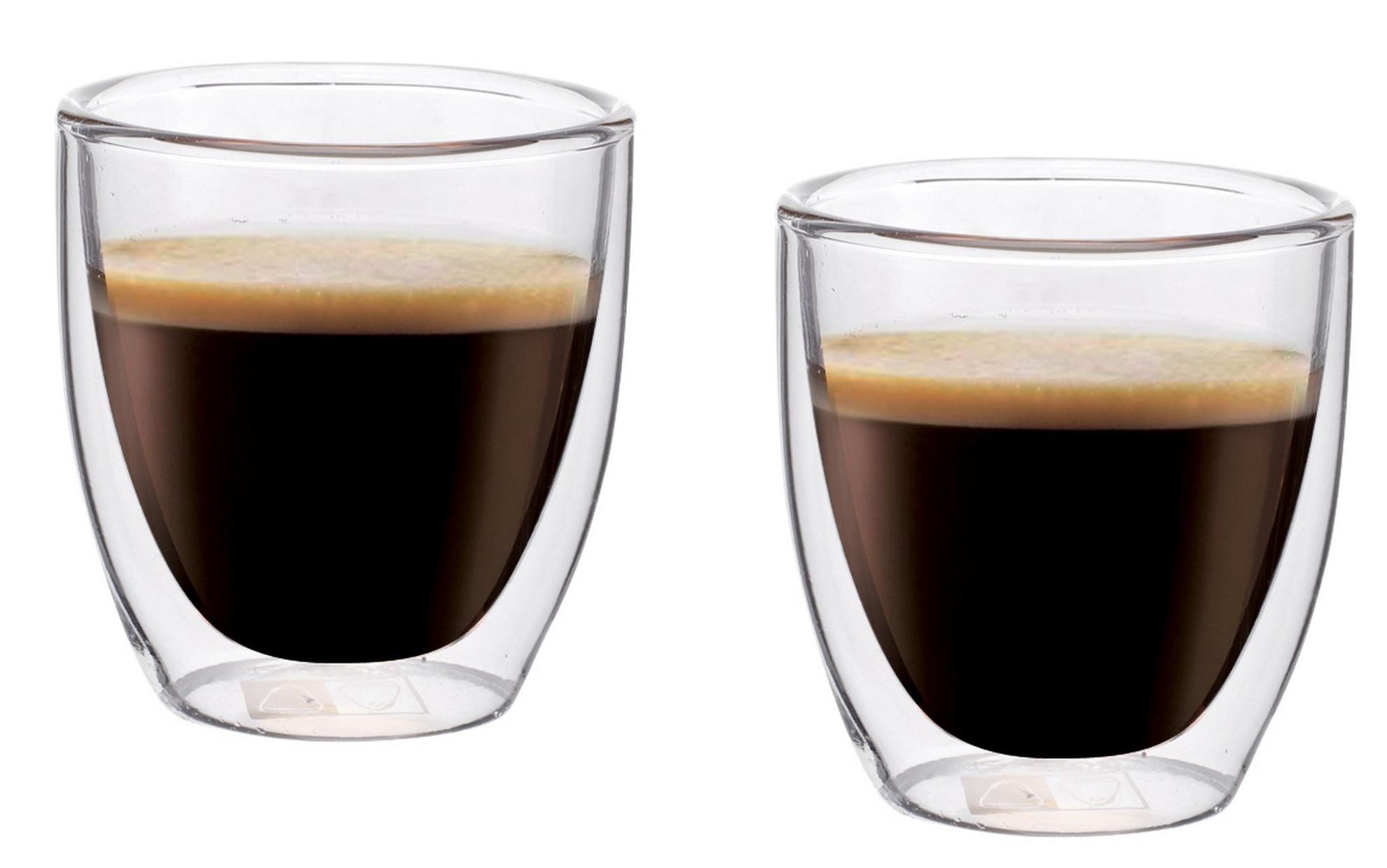 Dvoustěnný skleněný šálek na Espresso 80 ml 2ks - Pavina