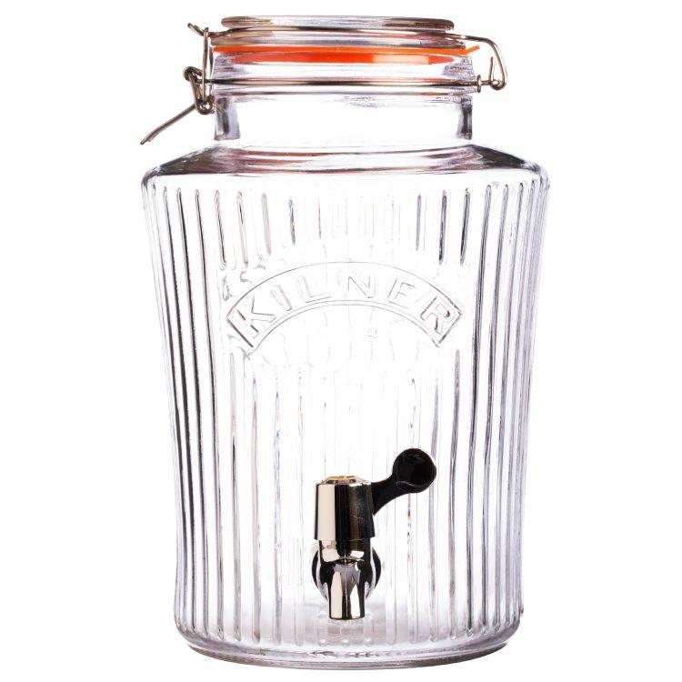 Skleněný nápojový automat s kohoutkem 5,0l fazetový - Kilner