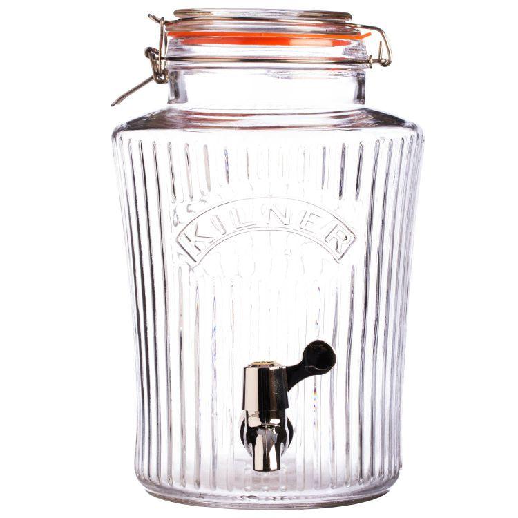 Skleněný nápojový automat s kohoutkem 8,0l fazetový - Kilner