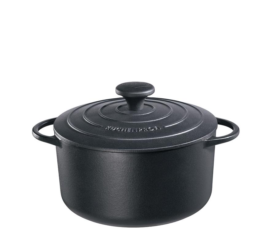 Litinový hrnec kulatý Provence 22 cm černý - Küchenprofi