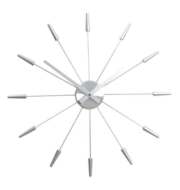 Nástěnné hodiny PLUG INN stříbrné 60 cm - NEXTIME