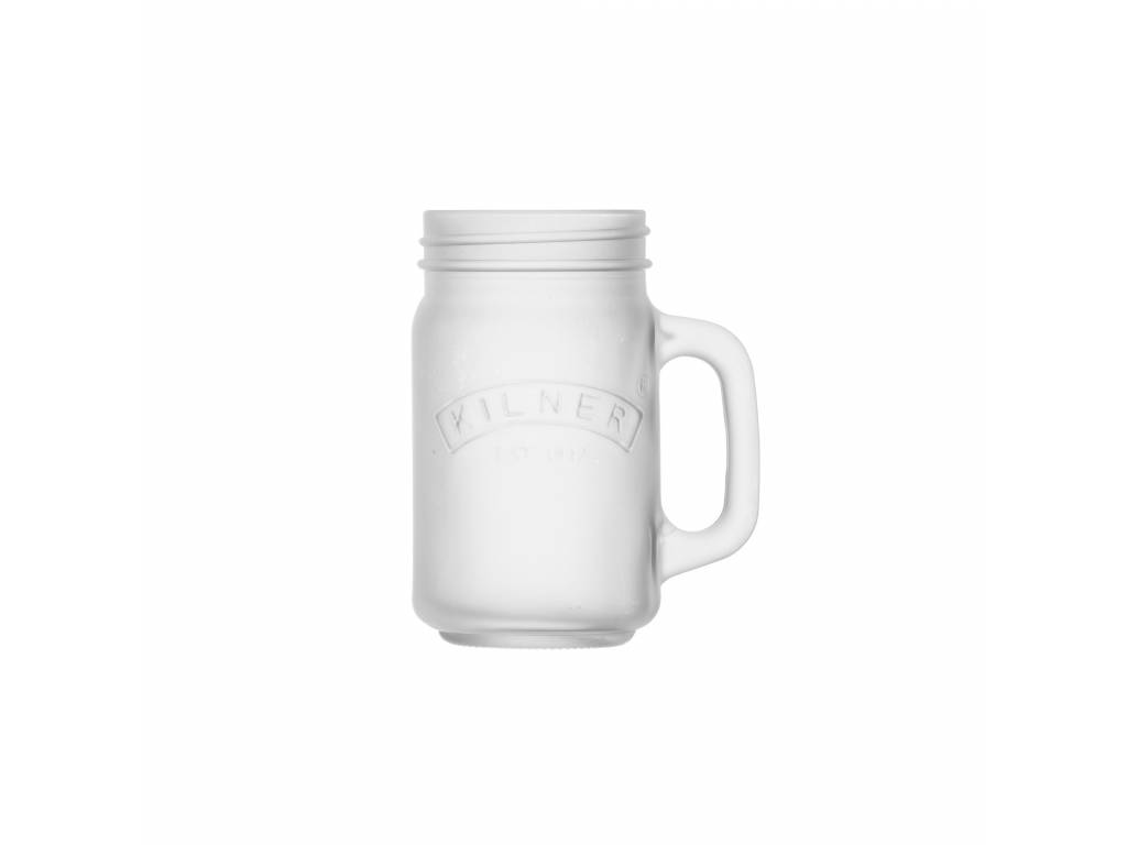 Skleněný džbánek s rukojetí z mléčného skla 0,4l bílý - Kilner