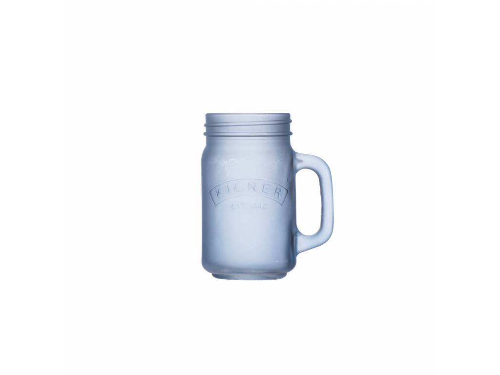 Skleněný džbánek s rukojetí z mléčného skla 0,4l modrý - Kilner