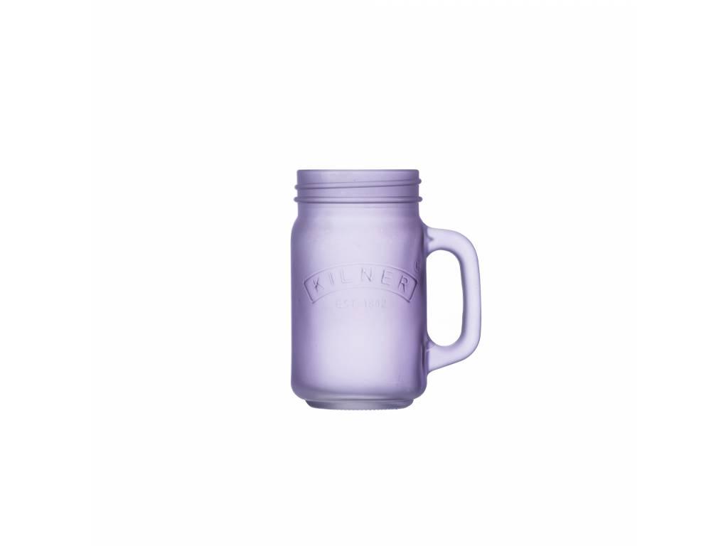 Skleněný džbánek s rukojetí z mléčného skla 0,4l fialový - Kilner