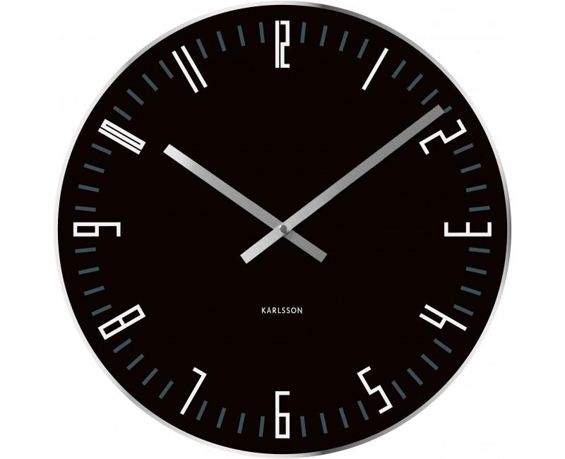 Nástěnné hodiny glass black 40 cm černé - Karlsson