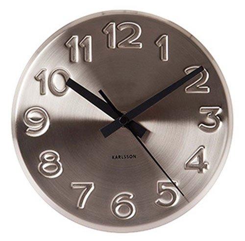 Nástěnné hodiny Bold Engraved numbers 19 cm nerez - Karlsson