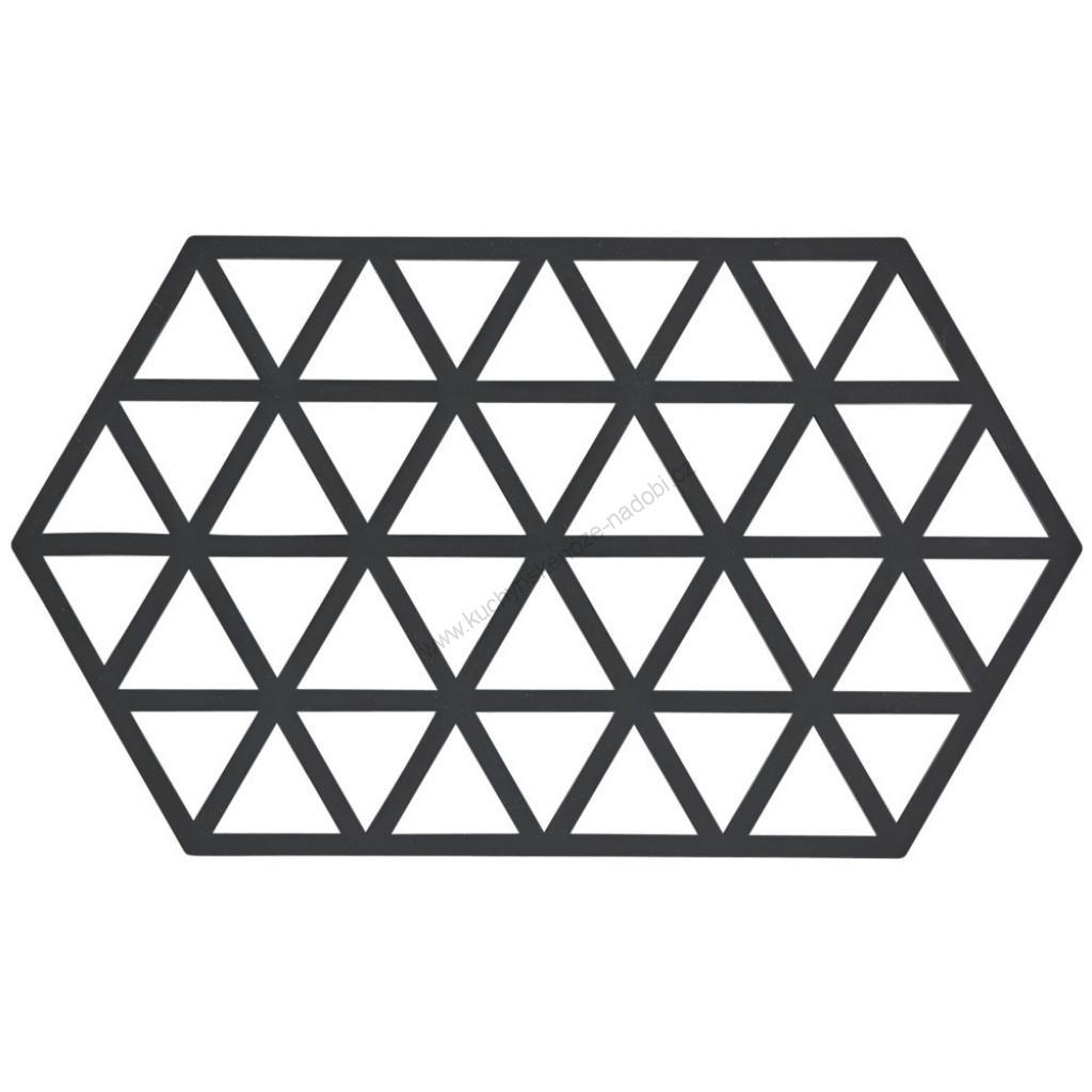 Silikonová podložka pod horké TRIANGLES 24 cm, černá - Zone