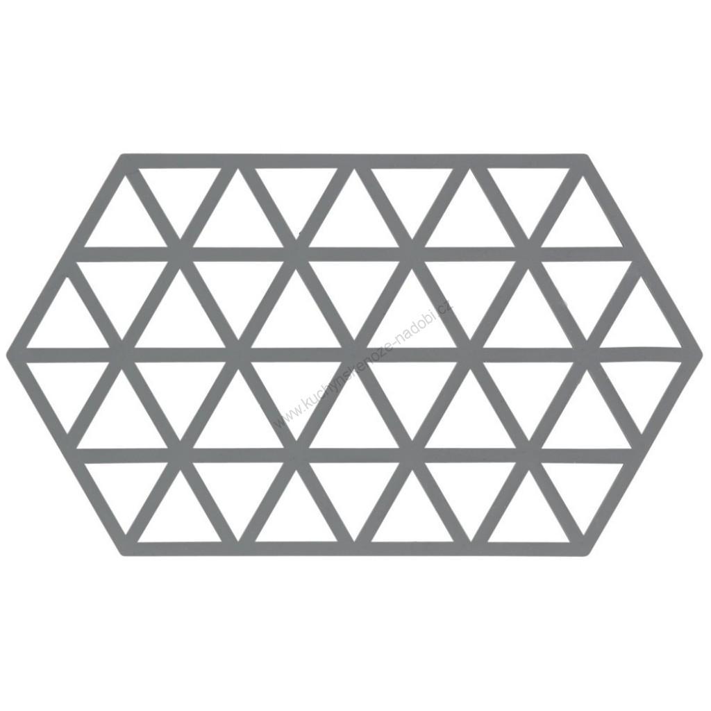 Silikonová podložka pod horké TRIANGLES 24 cm, chladná šedá - Zone