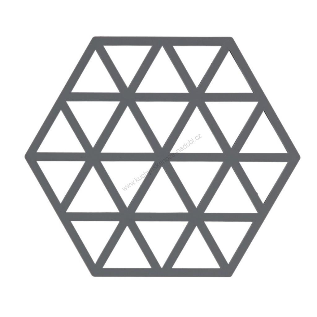 Silikonová podložka pod horké TRIANGLES 16 cm, chladná šedá - Zone