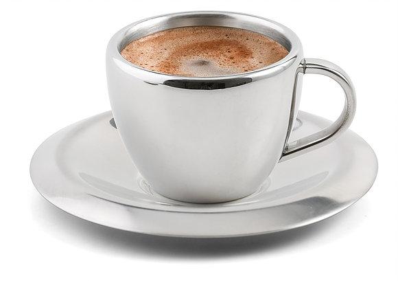 Šálek s podšálkem na kávu nerezový 220 ml - Weis