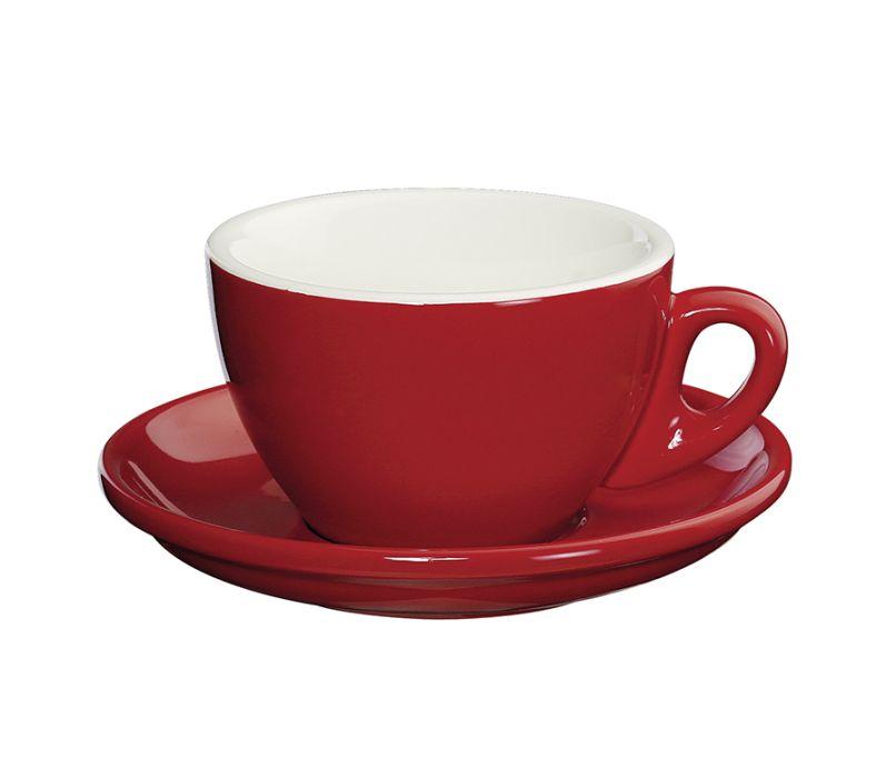 Porcelánový šálek na Cappuccino ROMA červený 100 ml - Cilio