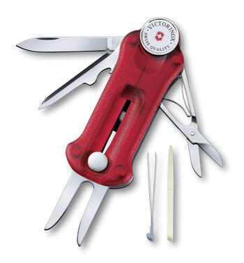 Kapesní golfový nůž GOLF TOOL transparentní červená - Victorinox
