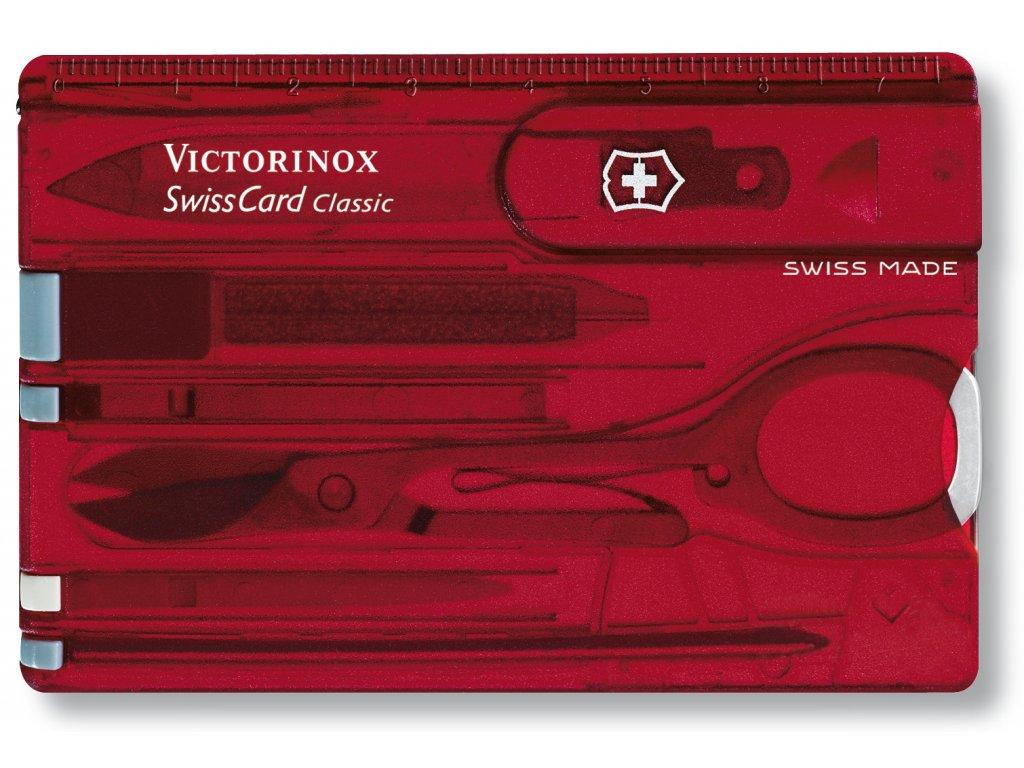 Multifunkční kapesní nůž SWISSCARD transparentní červená - Victorinox