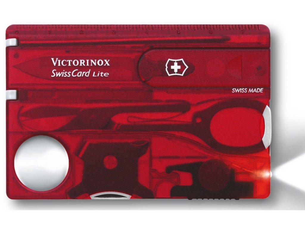 Multifunkční kapesní nůž SWISSCARD transparentní červený - Victorinox