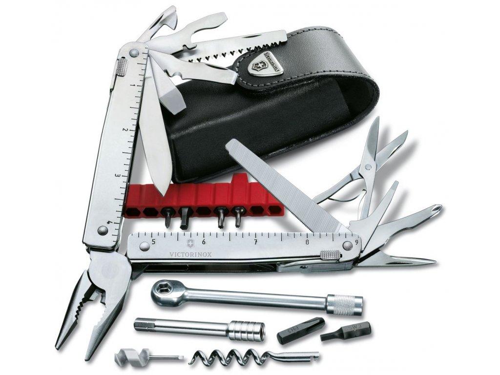 Nářaďový nůž SWISSTOOL X PLUS s RÁČNOU a koženým pouzdrem - Victorinox
