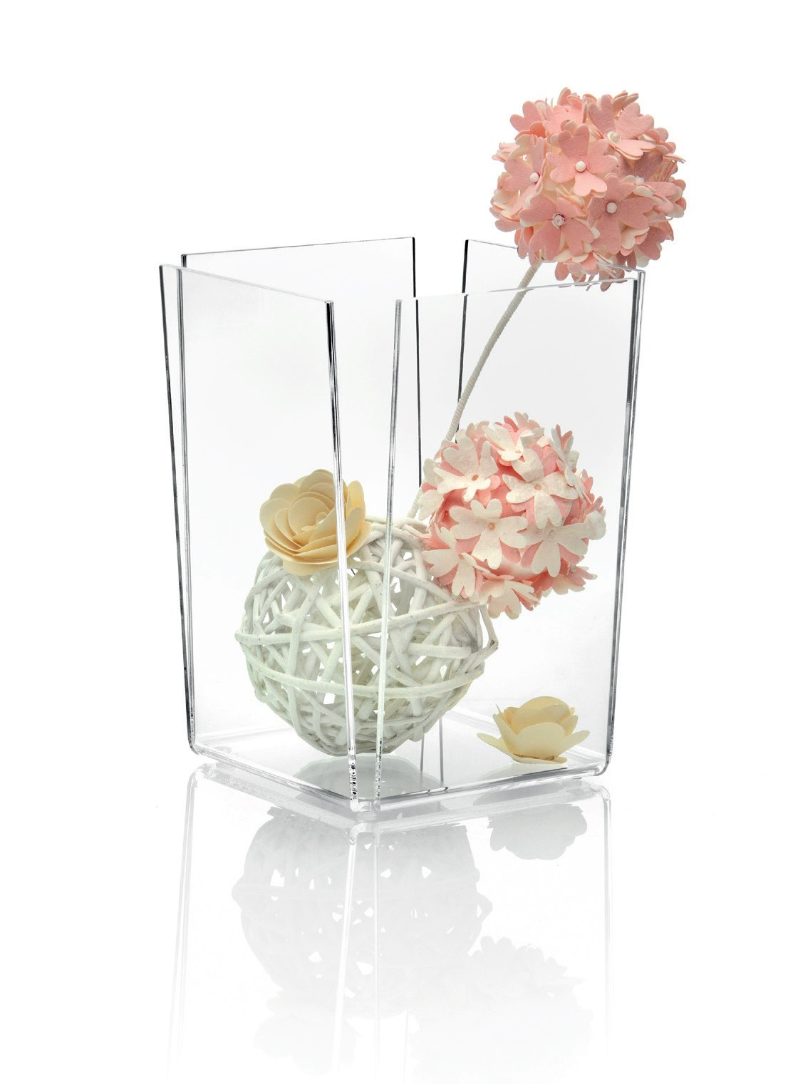 Čtvercová váza 15x15cm vysoká, transparentní - Carlo Giannini