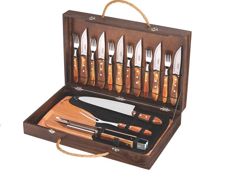 BBQ Grilovací set nářadí v dřevěném kufříku 17 ks Churrasco - TRAMONTINA