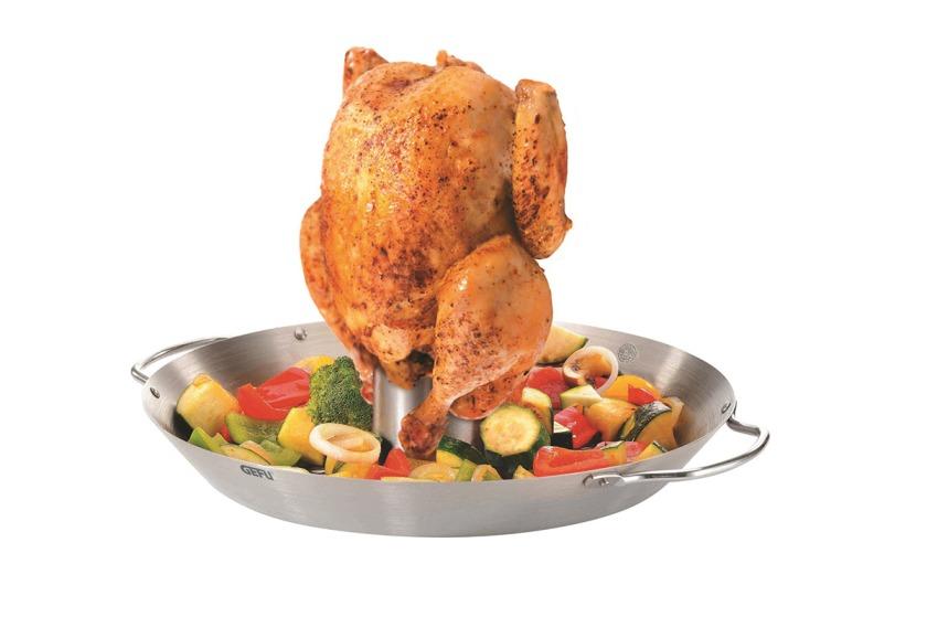 Vertikální roaster na kuře a wok 2v1 nerezový BBQ - GEFU