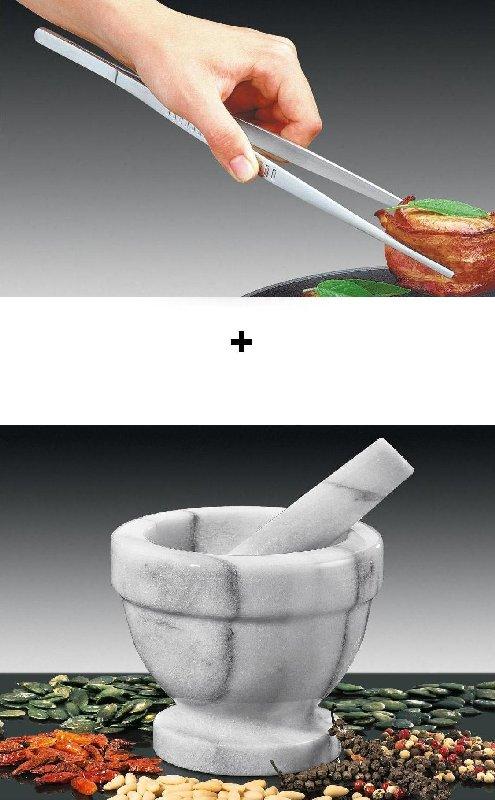 Kuchařská sada Obracecí pinzeta a mramorový hmoždíř