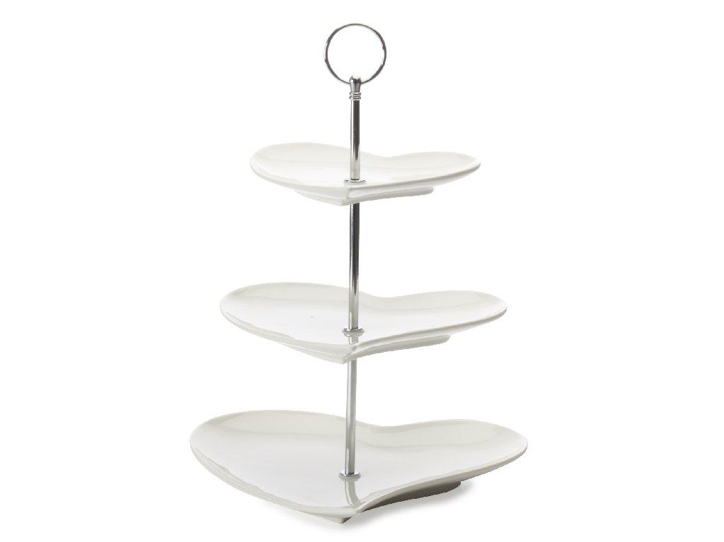 Porcelánový Etažér 3dílný ve tvaru srdce White Basics - Maxwell&Williams