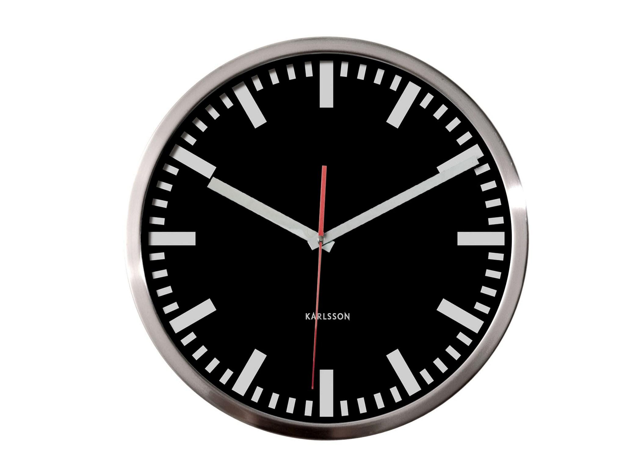 Nástěnné hodiny Station steel 29 cm černé - Karlsson