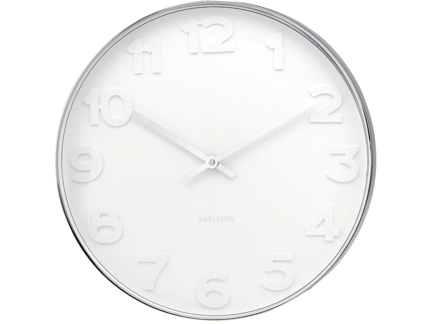 Nástěnné hodiny Mr. White numbers steel 51 cm - Karlsson