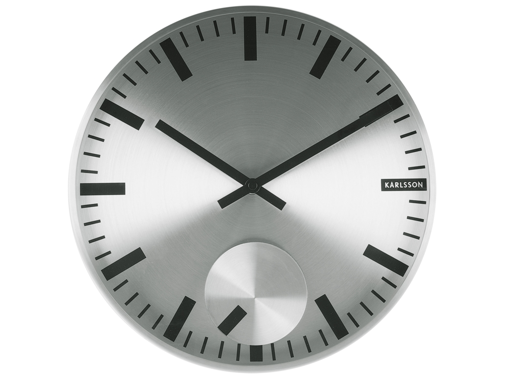 Nástěnné hodiny Moving Index 30 cm nerezové - Karlsson