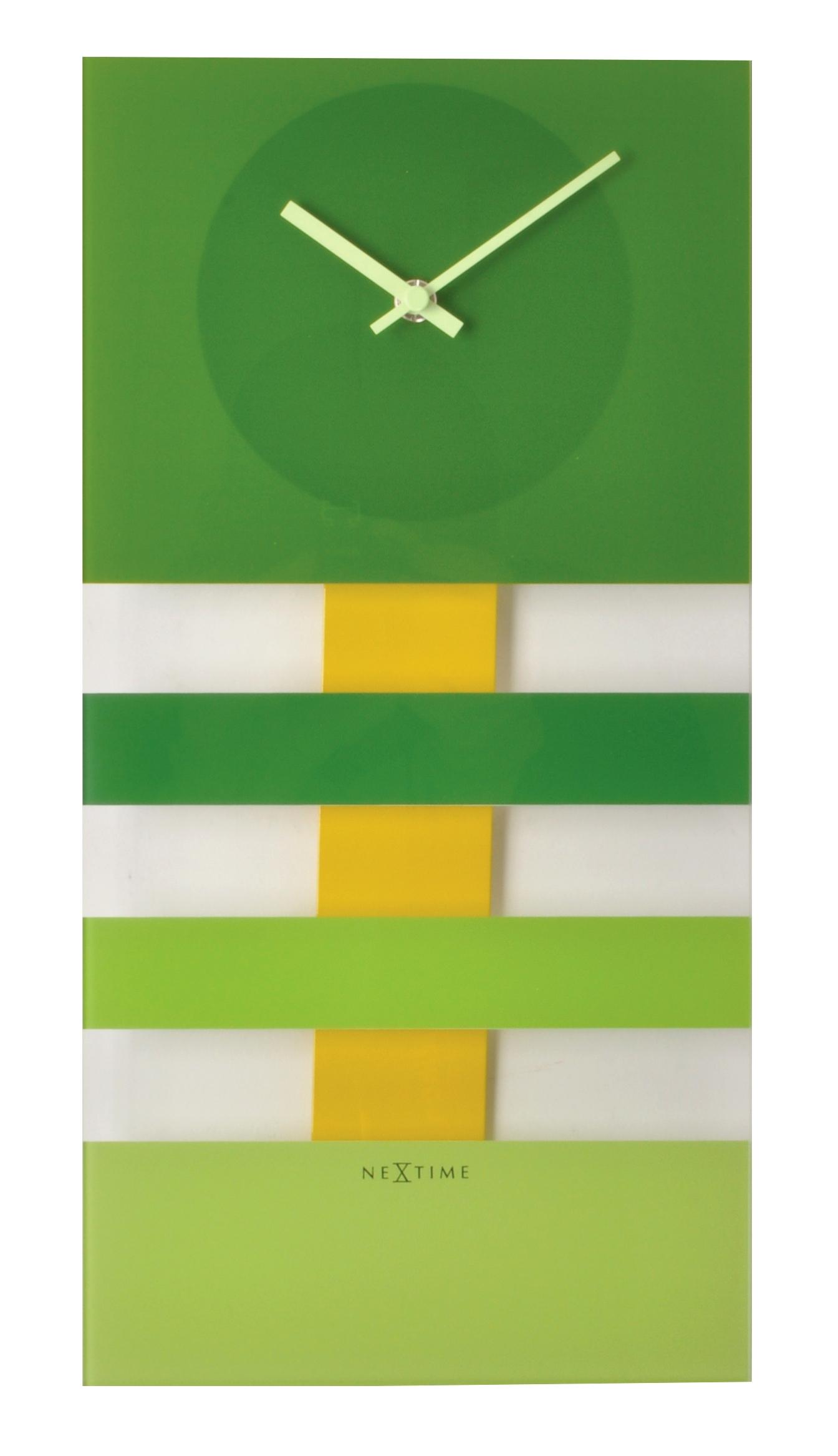 Nástěnné hodiny BOLD STRIPES 19 x 38 cm zelené - NEXTIME