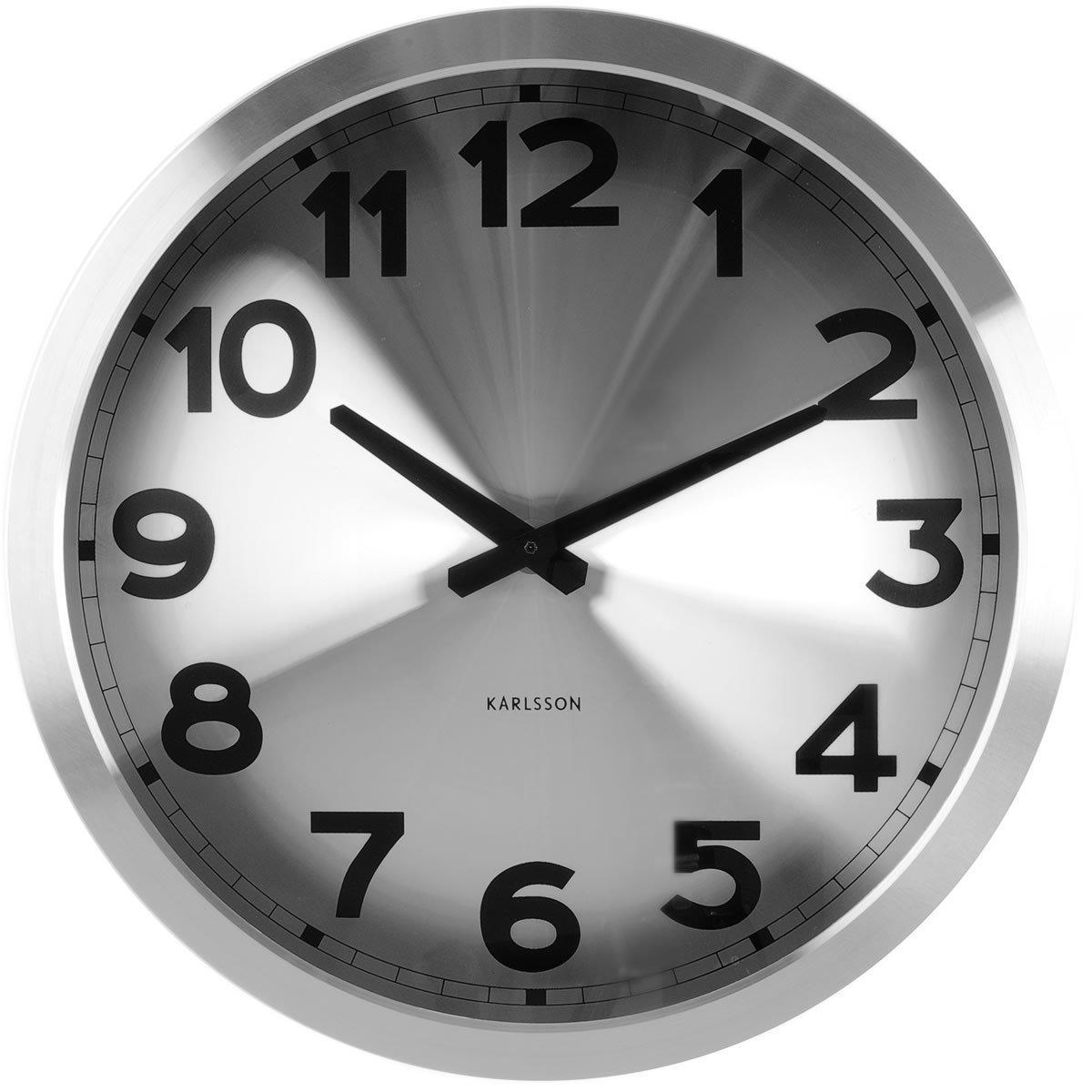 Nástěnné hodiny Silver Station alu sweep movement 40cm - Karlsson