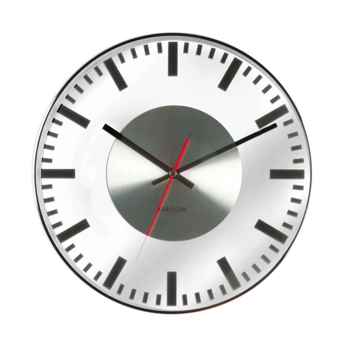 Nástěnné hodiny Glas Printed Station 30 cm nerez - Karlsson