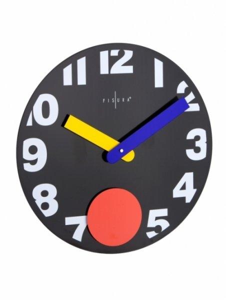 Nástěnné hodiny Punto Black 40 cm černé - Fisura