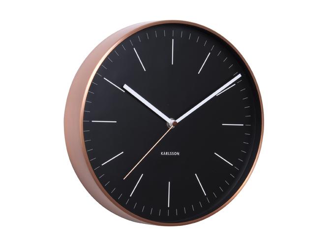 Nástěnné hodiny Minimal black w. copper case 27,5 cm černé - Karlsson
