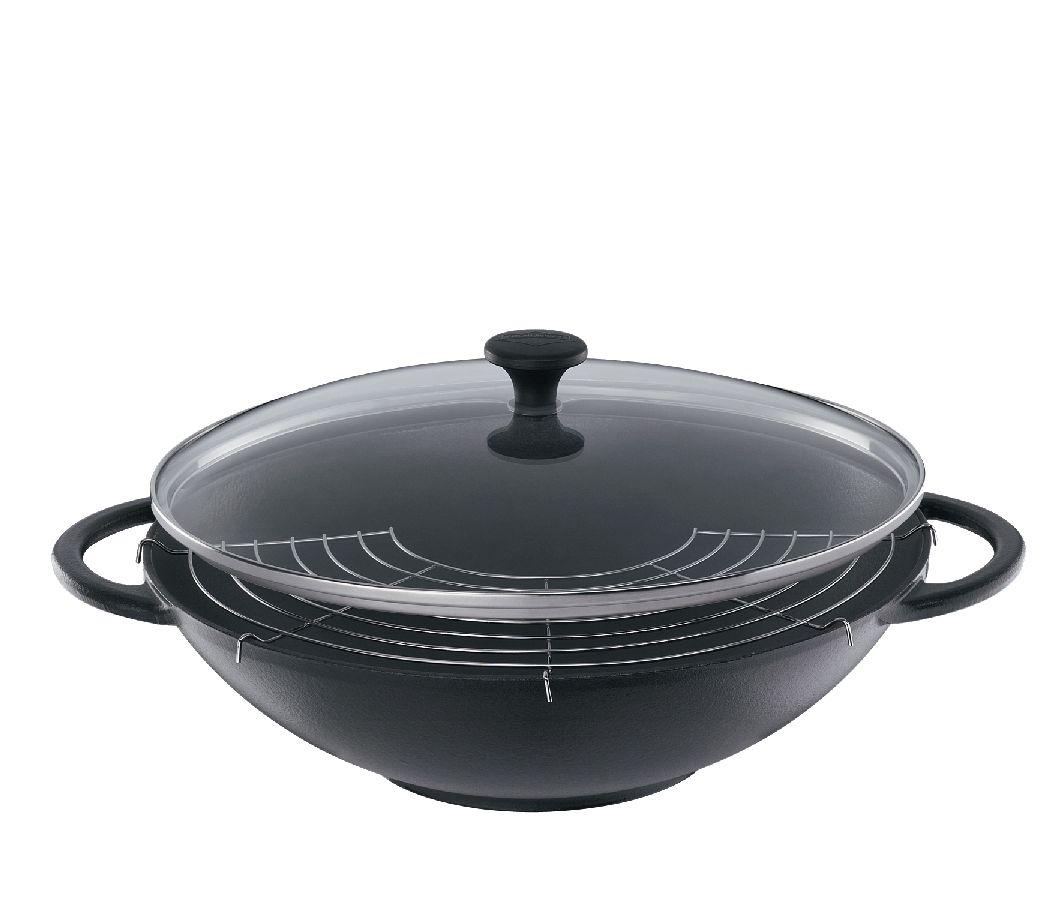 Litinová wok pánev se skleněnou poklicí Provence 36 cm černá - Küchenprofi