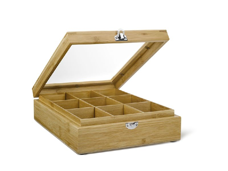 Krabička na porcovaný čaj 9 přihrádek Bamboo s okénkem - Bredemeijer