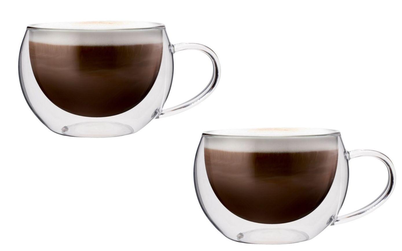 Dvoustěnný skleněný šálek na cappucino 300 ml 2ks - Pavina