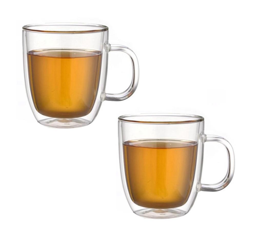 Dvoustěnný skleněný šálek na čaj 480 ml 2ks - Pavina