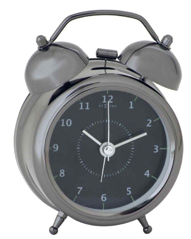 Stolní hodiny s budíkem WAKE UP 9 cm černé - NEXTIME