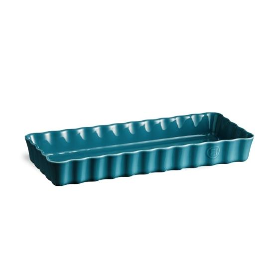 Keramická obdélníková koláčová forma 15 x 36 cm Calanque modrá - Emile Henry