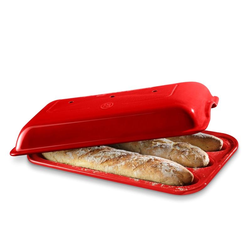 Forma na pečení 3 ks pařížských baget Burgundy červená E-BALENÍ - Emile Henry