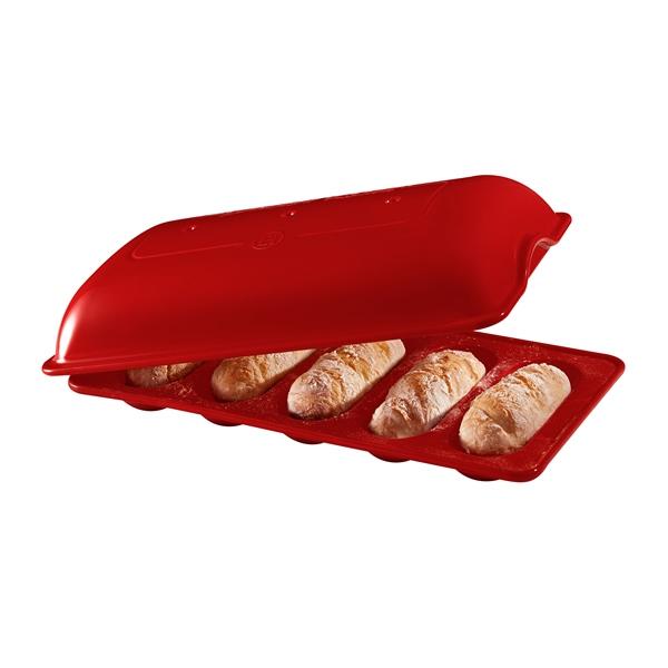 Forma na pečení 5 ks mini bagetek červená Burgundy - Emile Henry