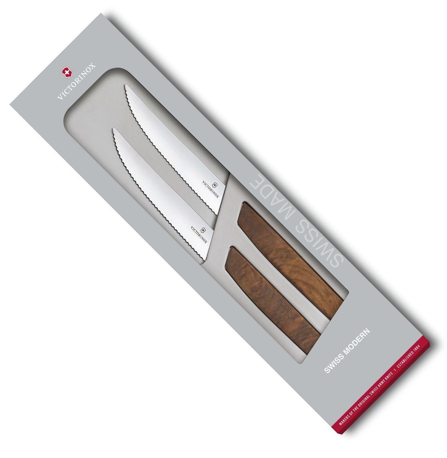 Sada 2 ks steakový nůž 12 cm SWISS MODERN s vlnitým okrajem - Victorinox