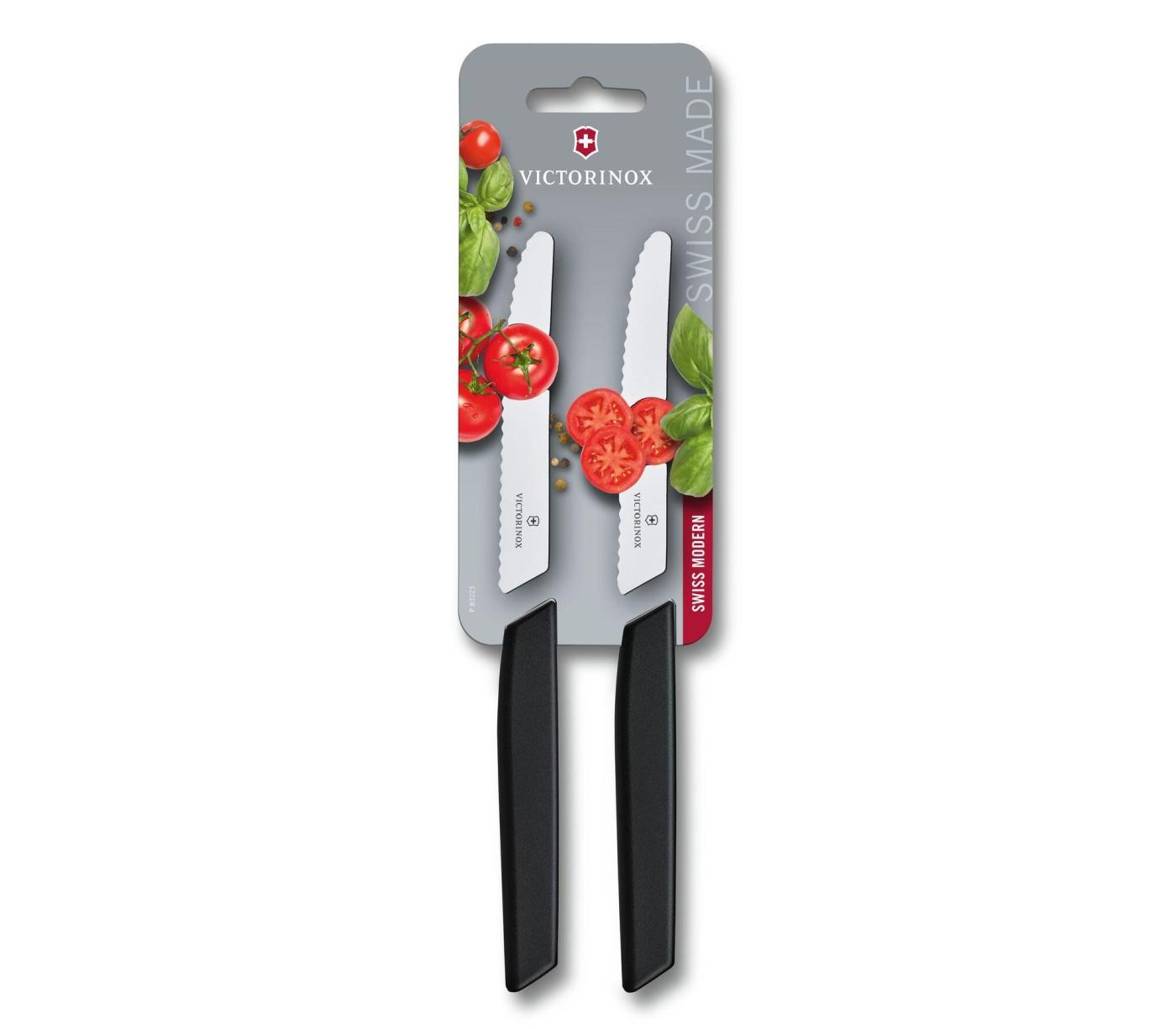 Sada 2 ks Nůž na rajčata SWISS MODERN 11 cm černý - Victorinox
