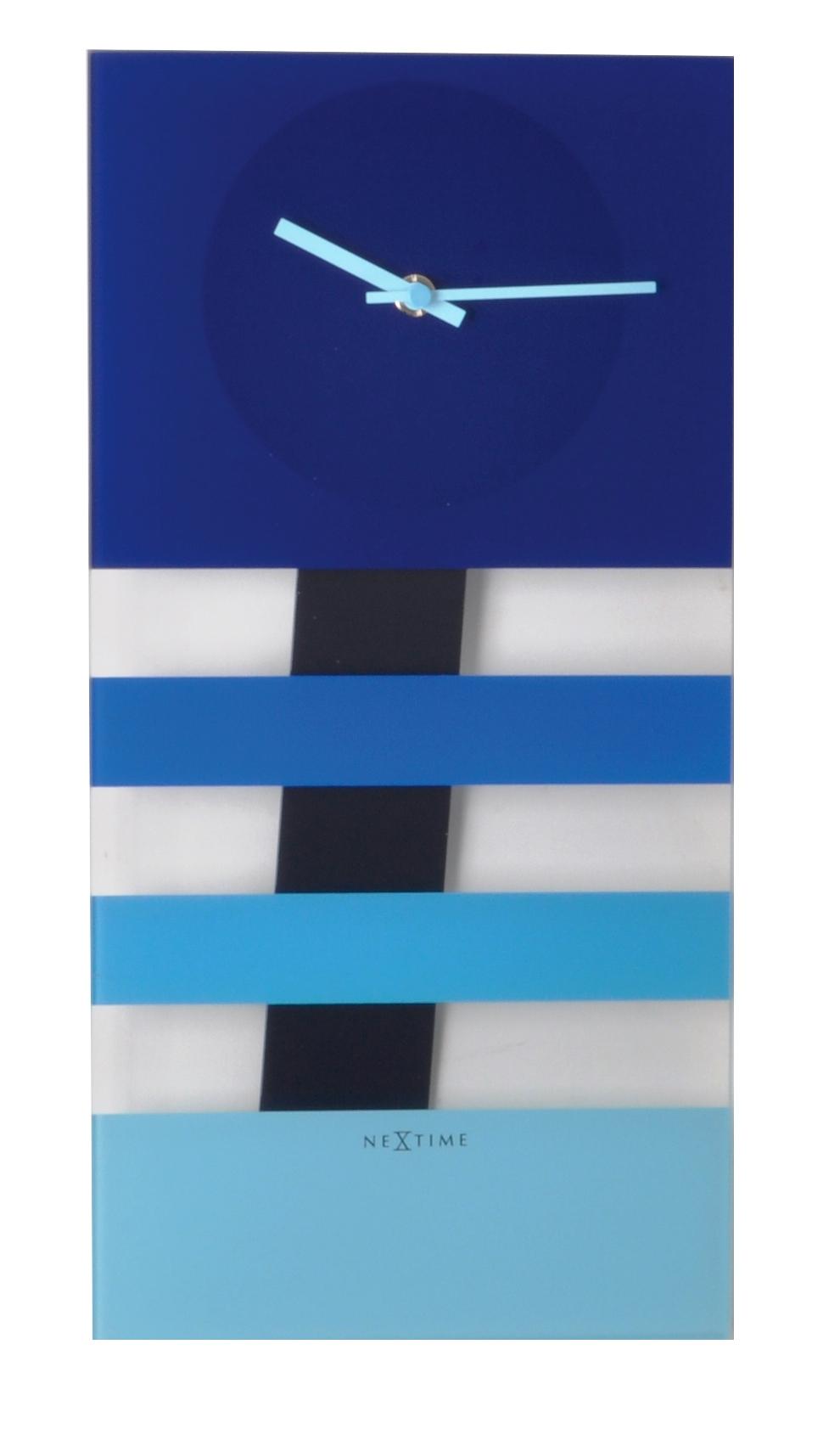 Nástěnné hodiny BOLD STRIPES 19 x 38 cm modré - NEXTIME