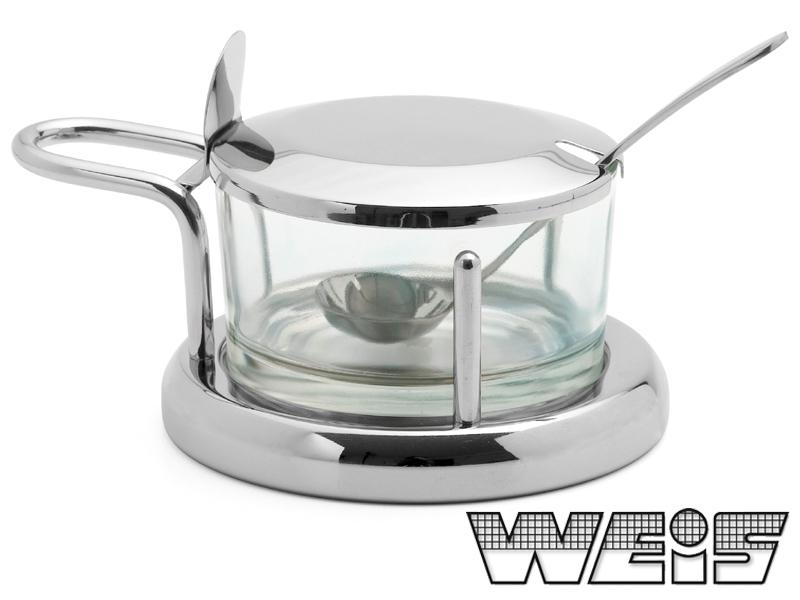 Miska na parmezán s víčkem a lžičkou nerezová - Weis